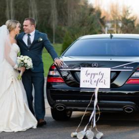 Ava bride groom just married car